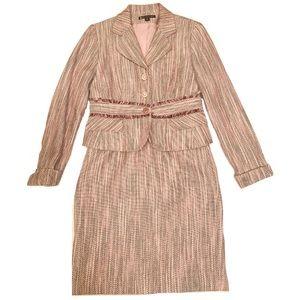 ⚜️Mauve Tweed Classy Skirt & Jacket Set